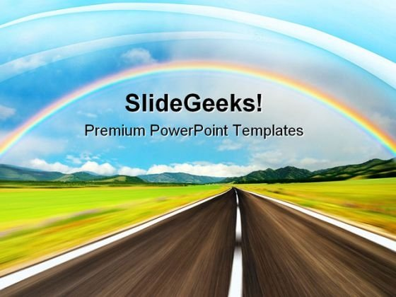 Rainbow Over Road Nature PowerPoint Themes And PowerPoint Slides 0811