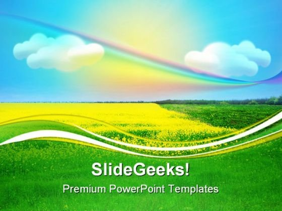 Rainbow Under Field Nature PowerPoint Templates And PowerPoint Backgrounds 0611