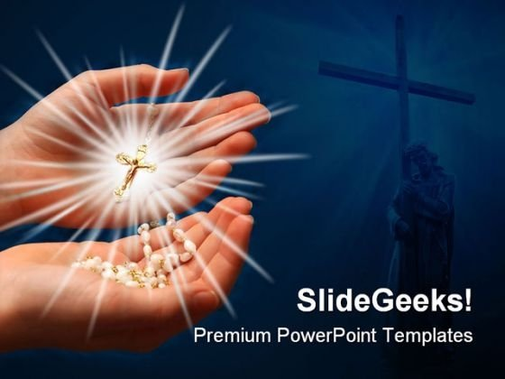 Rays Of Cross Religion PowerPoint Template 0610