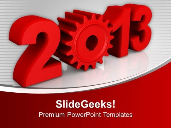 Red 2013 New Year Targets Achievement PowerPoint Templates Ppt Backgrounds For Slides 0113