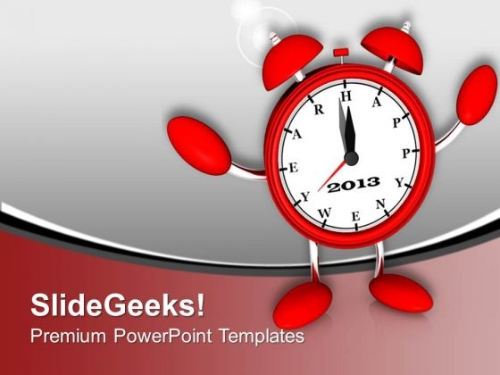 Red Alarm Clock Midnight New Year PowerPoint Templates Ppt Backgrounds For Slides 0113