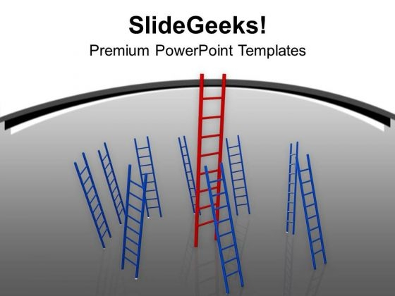 Red And Blue Ladders On Grey Background PowerPoint Templates Ppt Backgrounds For Slides 0213