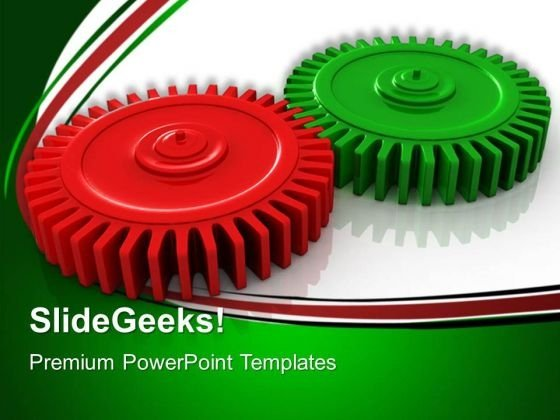 Red And Green Gears Industrial PowerPoint Templates And PowerPoint Themes 0512