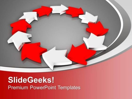 Red And White Arrows Interconnection PowerPoint Templates Ppt Backgrounds For Slides 0313
