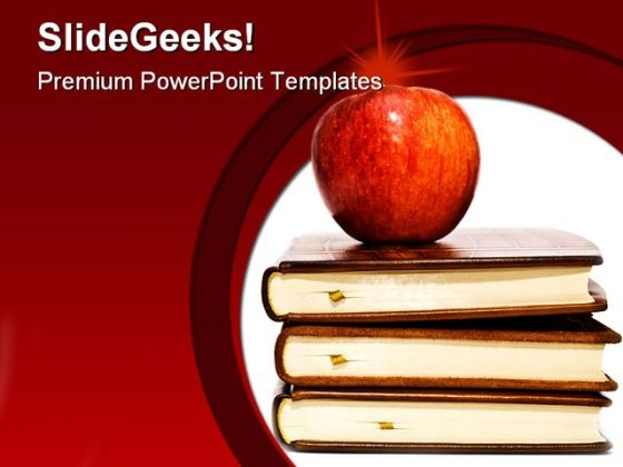 Red Apple With Books Education PowerPoint Backgrounds And Templates 1210