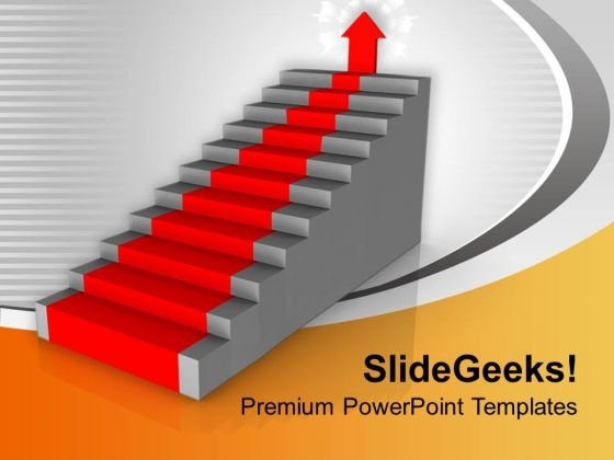 Red Arrow On Stairs Success PowerPoint Templates Ppt Backgrounds For Slides 0213