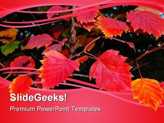 Red Autumn Leaves Nature PowerPoint Templates And PowerPoint Backgrounds 0411