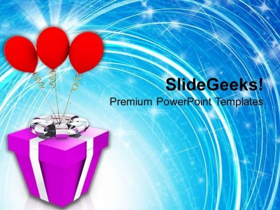 Red Balloon Attached To Gift New Year Concept PowerPoint Templates Ppt Backgrounds For Slides 1112