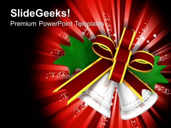 Red Bow Tied Around Silver Bells PowerPoint Templates Ppt Backgrounds For Slides 1212