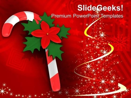 Red Candy Cane On Christmas Background PowerPoint Templates Ppt Backgrounds For Slides 1212