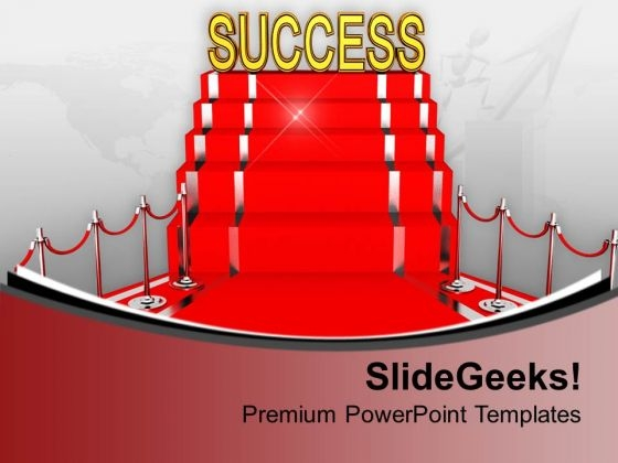Red Carpet Success Concept Illustration PowerPoint Templates Ppt Backgrounds For Slides 0213