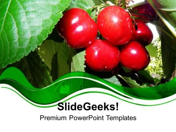 Red Cherry With Green Abstract Background PowerPoint Templates Ppt Backgrounds For Slides 0613