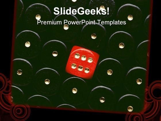 Red Dice Showing Six Game PowerPoint Templates And PowerPoint Backgrounds 0211