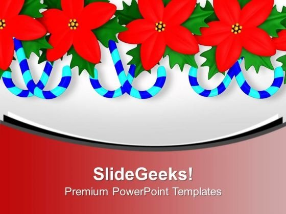Red Holy Flowers With Candy Cane Design PowerPoint Templates Ppt Backgrounds For Slides 0113