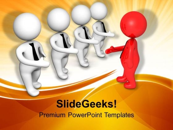 Red Human Coming For Handshake PowerPoint Templates Ppt Backgrounds For Slides 0713