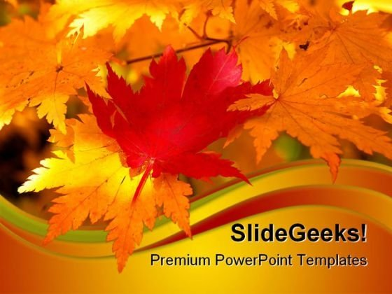Red Maple Leaf Nature PowerPoint Themes And PowerPoint Slides 0611