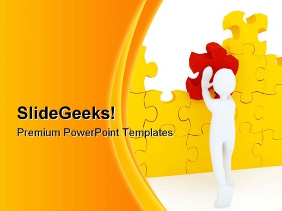 Red Puzzle Piece Business PowerPoint Background And Template 1210