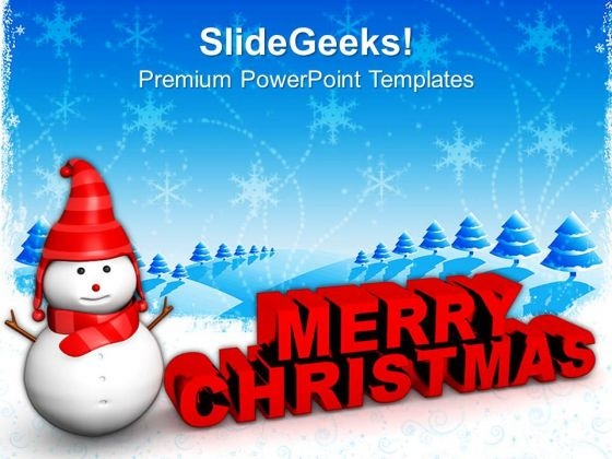 Red Snowman With Merry Christmas Holidays PowerPoint Templates Ppt Background For Slides 1112