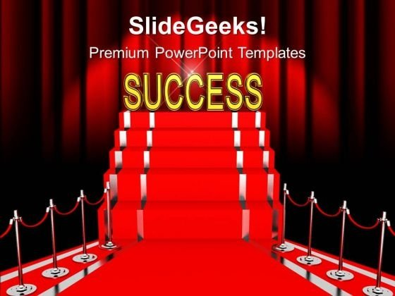 Red Success Carpet Winner PowerPoint Templates Ppt Backgrounds For Slides 0213