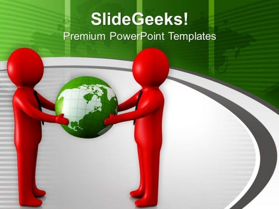 Red Symbol Men With Globe PowerPoint Templates Ppt Backgrounds For Slides 0713