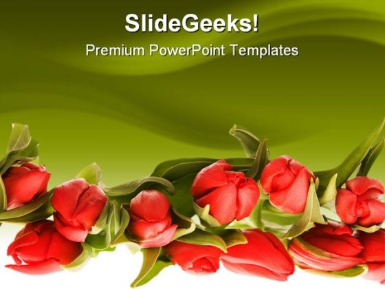 Red Tulips Beauty PowerPoint Template 0810