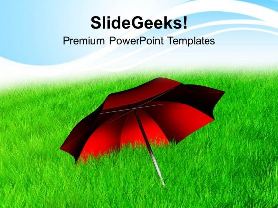 Red Umbrella In Grass Nature PowerPoint Templates Ppt Backgrounds For Slides 0113