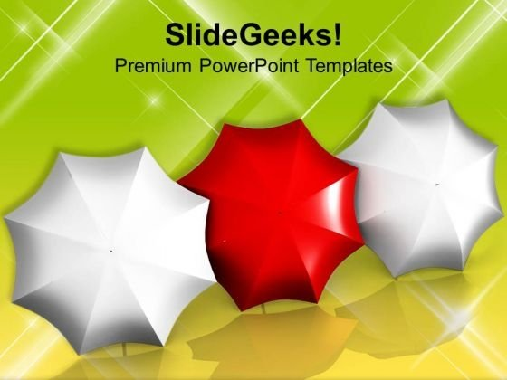 Red Umbrella Leadership Concept Business PowerPoint Templates Ppt Backgrounds For Slides 0113