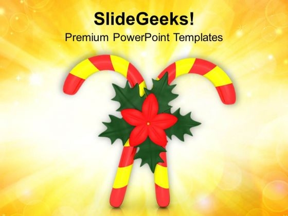 Red Yellow Candy Cane With Flower PowerPoint Templates Ppt Backgrounds For Slides 1212