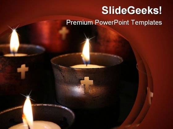 Religious Candles Religion PowerPoint Template 0610
