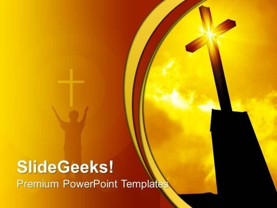 Religious Cross Sunrise Sunset PowerPoint Templates And PowerPoint Themes 0712