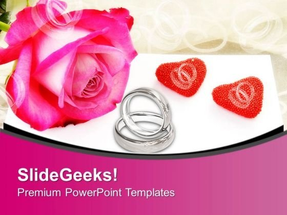 Rings And Flower With Rose To Show Love PowerPoint Templates Ppt Backgrounds For Slides 0313