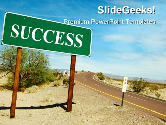 Road Sign On Desert Success PowerPoint Templates And PowerPoint Backgrounds 0811