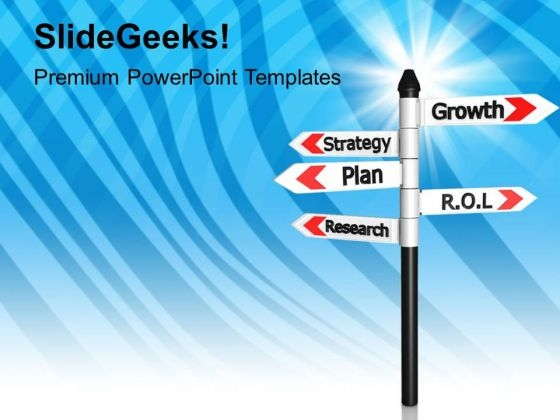 Road Signs Growth Strategy Plan Research PowerPoint Templates Ppt Backgrounds For Slides 1212