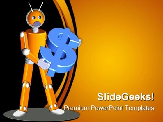 Robot Holding Dollar Money PowerPoint Backgrounds And Templates 1210