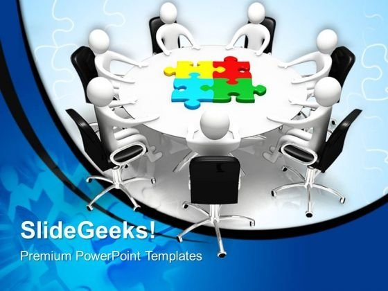 Round Table Meeting With Puzzle Or Jigsaw PowerPoint Templates And PowerPoint Themes 0612