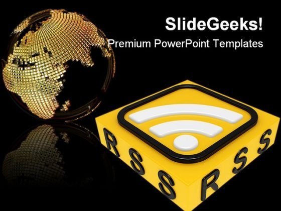 Rss Globe PowerPoint Backgrounds And Templates 0111