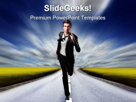 Run Businessman Business PowerPoint Templates And PowerPoint Backgrounds 0611