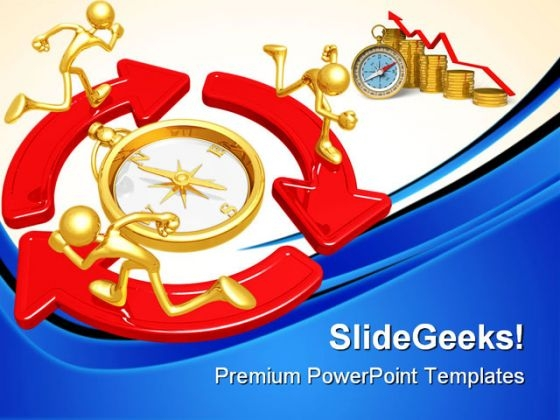 Running Around A Compass Business PowerPoint Themes And PowerPoint Slides 0811