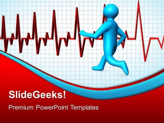 Running Man Heartbeat Medical PowerPoint Templates And PowerPoint Themes 0512