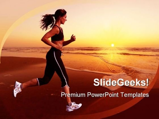 Running Woman Sunset Beach PowerPoint Templates And PowerPoint Backgrounds 0311