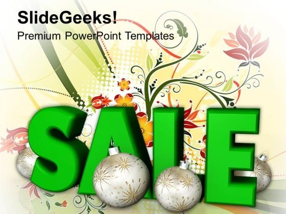 Sale With Stylized Christmas Baubles Shopping PowerPoint Templates Ppt Backgrounds For Slides 1112
