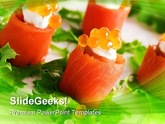Salmon Rolls Food PowerPoint Templates And PowerPoint Backgrounds 0211