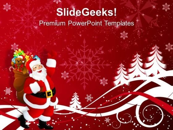 Santa Claus On Christmas Background Powerpoint Templates Ppt