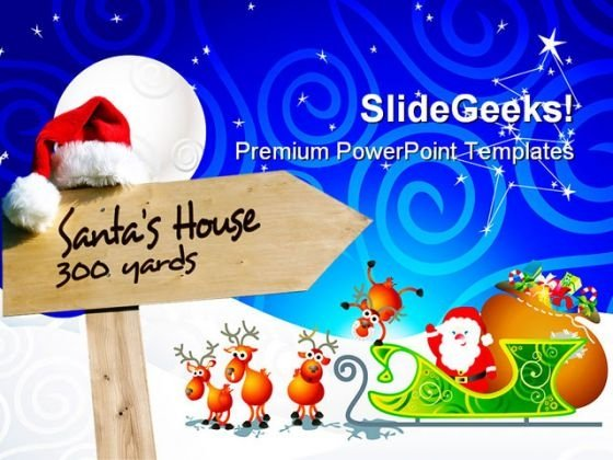 Santa House Signpost Holidays PowerPoint Themes And PowerPoint Slides 0811