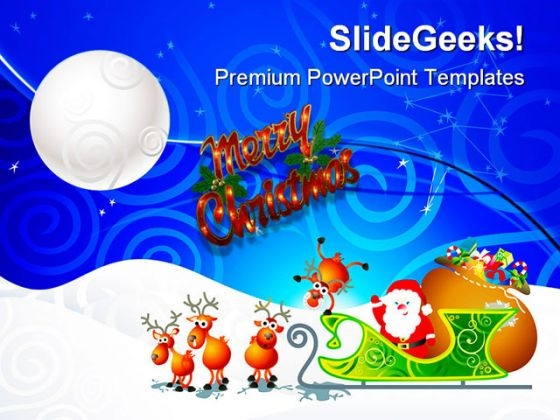 Santa Sleigh Christmas PowerPoint Themes And PowerPoint Slides 0711