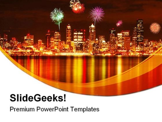Seattle Fireworks Festival PowerPoint Themes And PowerPoint Slides 0411