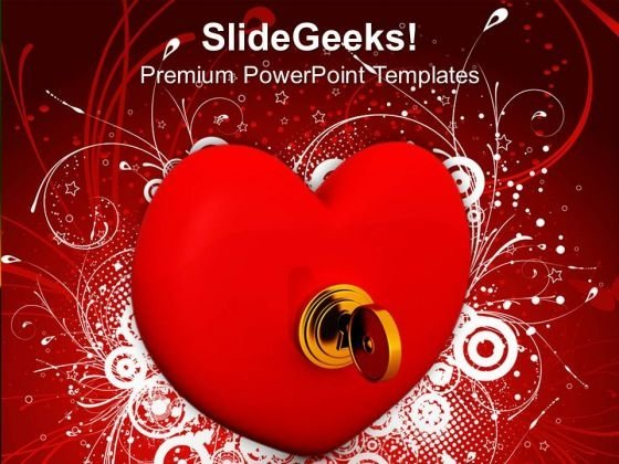 Security Key On Heart Love PowerPoint Templates Ppt Backgrounds For Slides 0213
