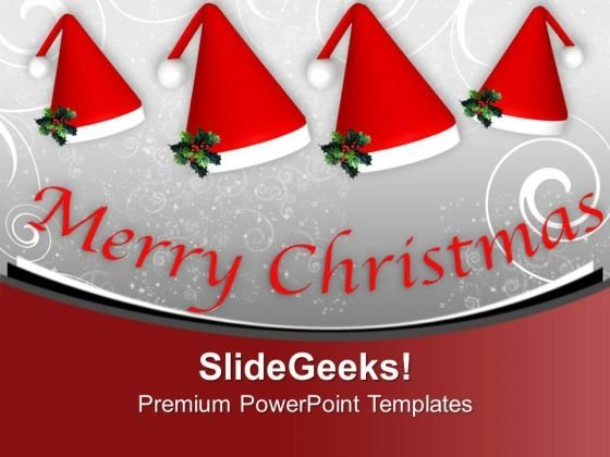 Set Of Santa Claus Hat Winter Holidays PowerPoint Templates Ppt Backgrounds For Slides 0113