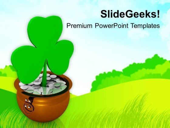 Shamrock Symbol On Green Background PowerPoint Templates Ppt Backgrounds For Slides 0313