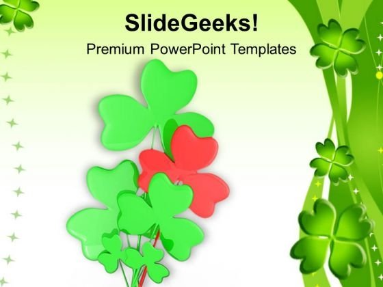 Shamrock Symbol Saint Patricks Day Celebration PowerPoint Templates Ppt Backgrounds For Slides 0313
